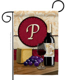 Wine P Initial - Wine Happy Hour & Drinks Vertical Impressions Decorative Flags HG130224 Made In USA