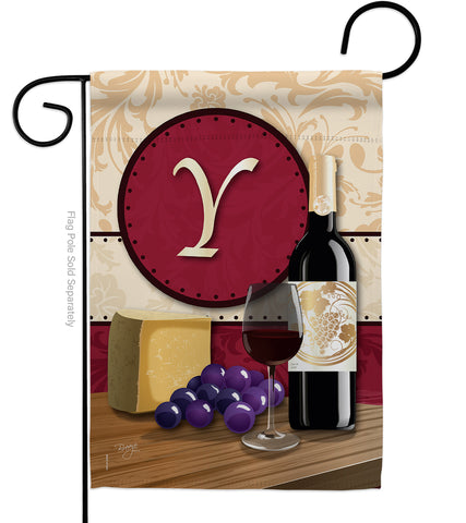 Wine Y Initial - Wine Happy Hour & Drinks Vertical Impressions Decorative Flags HG130233 Made In USA