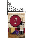 Wine I Initial - Wine Happy Hour & Drinks Vertical Impressions Decorative Flags HG130217 Made In USA