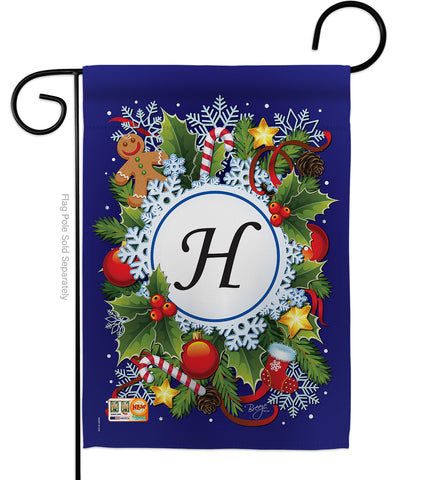 Winter H Initial - Winter Wonderland Winter Vertical Impressions Decorative Flags HG130086 Made In USA