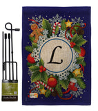 Winter L Initial - Winter Wonderland Winter Vertical Impressions Decorative Flags HG130090 Made In USA