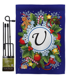 Winter U Initial - Winter Wonderland Winter Vertical Impressions Decorative Flags HG130099 Made In USA