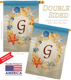 Summer G Initial - Beach Coastal Vertical Impressions Decorative Flags HG130163 Made In USA