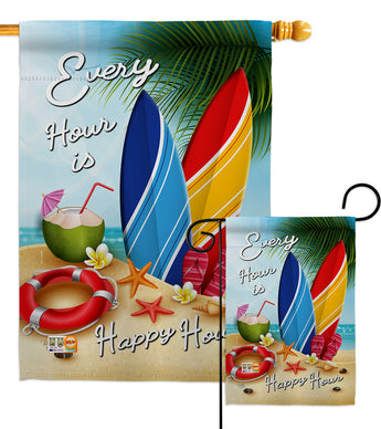 Beach Every Hour - Beach Coastal Vertical Impressions Decorative Flags HG106080 Made In USA