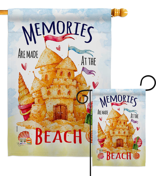 Beach Memories - Beach Coastal Vertical Impressions Decorative Flags HG106081 Made In USA
