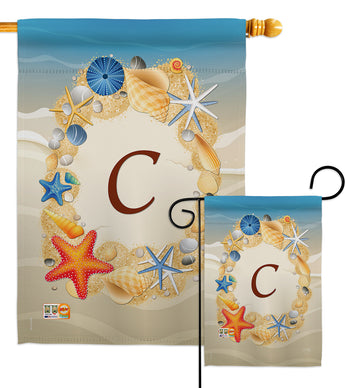 Summer C Initial - Beach Coastal Vertical Impressions Decorative Flags HG130159 Made In USA