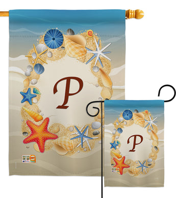 Summer P Initial - Beach Coastal Vertical Impressions Decorative Flags HG130172 Made In USA
