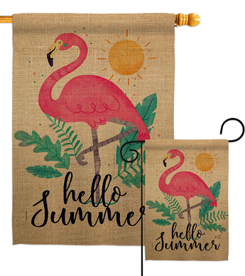 Summer Flamingo - Beach Coastal Vertical Impressions Decorative Flags HG137231 Made In USA