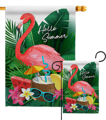 Flamingo Summer - Beach Coastal Vertical Impressions Decorative Flags HG137371 Made In USA