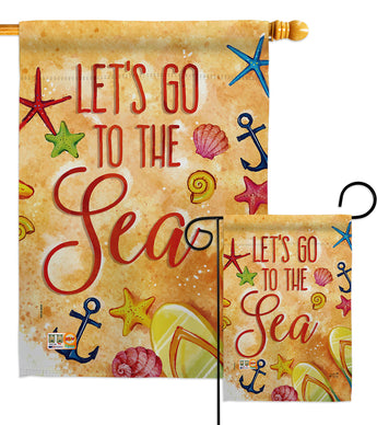 Let's Go To The Sea - Beach Coastal Vertical Impressions Decorative Flags HG192134 Made In USA