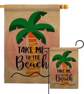Take me to the Beach - Beach Coastal Vertical Impressions Decorative Flags HG192230 Made In USA
