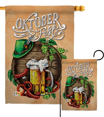 Oktoberfest Festival - Beverages Happy Hour & Drinks Vertical Impressions Decorative Flags HG137109 Made In USA