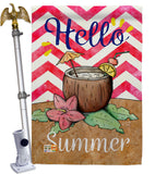 Coconut Summer Drinks - Beverages Happy Hour & Drinks Vertical Impressions Decorative Flags HG137001 Made In USA