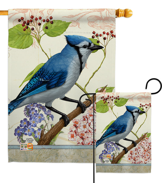 Blue Jay Floral - Birds Garden Friends Vertical Impressions Decorative Flags HG191052 Made In USA