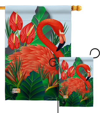 Flamingo Paradise - Birds Garden Friends Vertical Impressions Decorative Flags HG192121 Made In USA