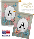 Butterflies A Initial - Bugs & Frogs Garden Friends Vertical Impressions Decorative Flags HG130131 Made In USA
