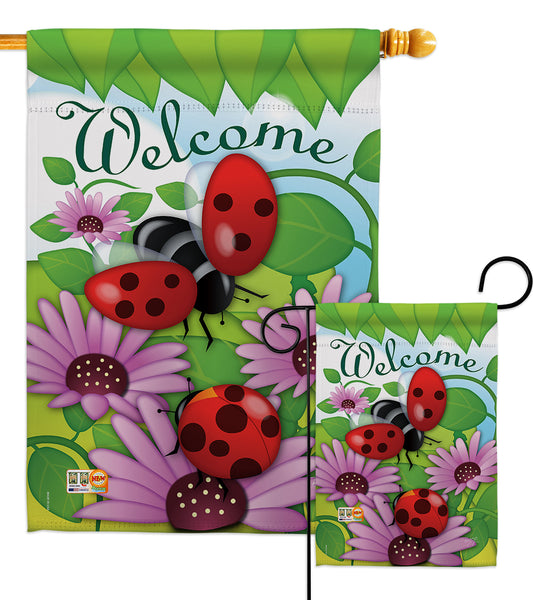 Welcome Ladybug - Bugs & Frogs Garden Friends Vertical Impressions Decorative Flags HG104071 Made In USA