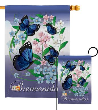 Bienvenidos Mariposas Celestes - Bugs & Frogs Garden Friends Vertical Impressions Decorative Flags HG104073 Made In USA