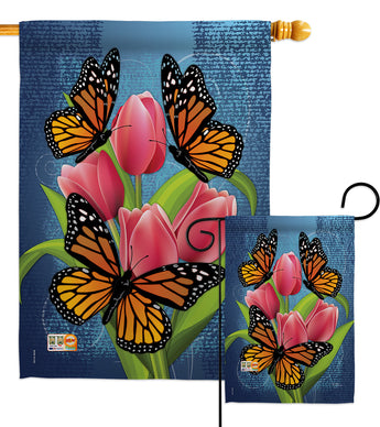 Monarch Butterflies - Bugs & Frogs Garden Friends Vertical Impressions Decorative Flags HG104078 Made In USA