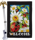 Ladybug Heaven - Bugs & Frogs Garden Friends Vertical Impressions Decorative Flags HG104068 Made In USA
