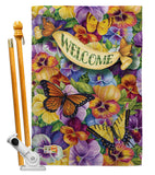 Pansies with Butterflies - Bugs & Frogs Garden Friends Vertical Impressions Decorative Flags HG104082 Made In USA
