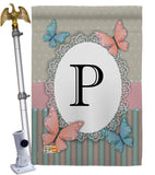 Butterflies P Initial - Bugs & Frogs Garden Friends Vertical Impressions Decorative Flags HG130146 Made In USA