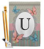 Butterflies U Initial - Bugs & Frogs Garden Friends Vertical Impressions Decorative Flags HG130151 Made In USA