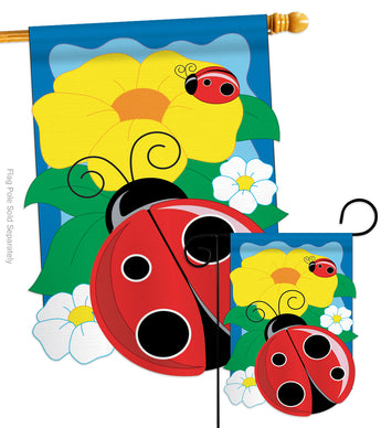 Ladybug - Bugs & Frogs Garden Friends Vertical Applique Decorative Flags HG104049