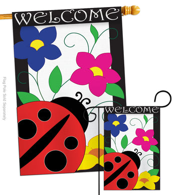 Spring Ladybug - Bugs & Frogs Garden Friends Vertical Applique Decorative Flags HG104059