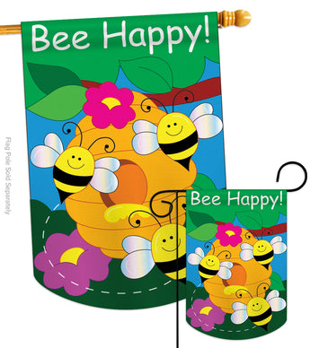Bee Happy - Bugs & Frogs Garden Friends Vertical Applique Decorative Flags HG104062