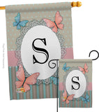 Butterflies S Initial - Bugs & Frogs Garden Friends Vertical Impressions Decorative Flags HG130149 Made In USA