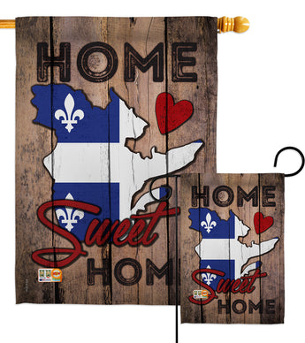 Canada Provinces Quebec Home Sweet Home - Canada Provinces Flags of the World Vertical Impressions Decorative Flags HG191173 Made In USA