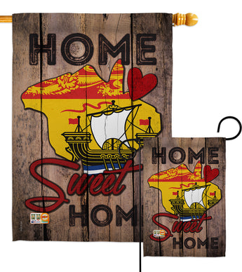 Canada Provinces New Brunswick Home Sweet Home - Canada Provinces Flags of the World Vertical Impressions Decorative Flags HG191175 Made In USA