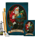 He's Making a List - Christmas Winter Vertical Impressions Decorative Flags HG114001 Made In USA