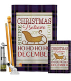 Believe in Joy of Sleigh - Christmas Winter Vertical Impressions Decorative Flags HG114181 Made In USA