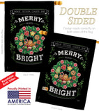 Merry & Bright - Christmas Winter Vertical Impressions Decorative Flags HG114115 Made In USA