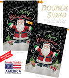 Candy Cane Santa - Christmas Winter Vertical Impressions Decorative Flags HG114116 Made In USA