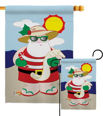 Tropical Santa - Christmas Winter Vertical Impressions Decorative Flags HG114062 Made In USA