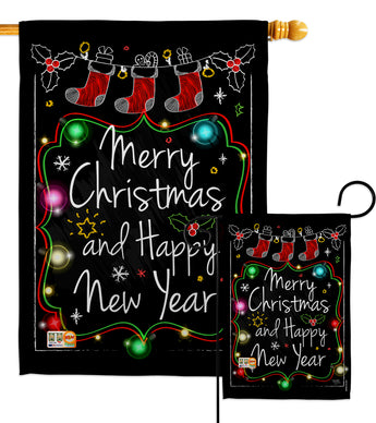 Chalkboard Merry Christmas - Christmas Winter Vertical Impressions Decorative Flags HG114145 Made In USA