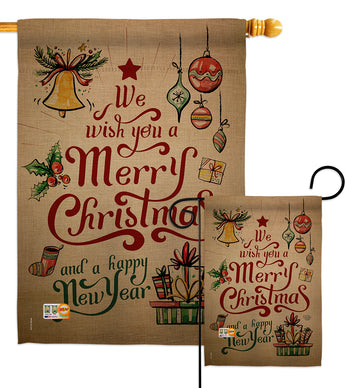 Merry Christmas and Happy New Year - Christmas Winter Vertical Impressions Decorative Flags HG191081 Made In USA