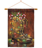 Xmas Boots - Christmas Winter Vertical Impressions Decorative Flags HG114002 Made In USA