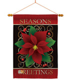 Seasons Greetings Poinsettia - Christmas Winter Vertical Impressions Decorative Flags HG114082 Imported
