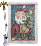 HoHoHo Santa Tree - Christmas Winter Vertical Impressions Decorative Flags HG114127 Made In USA