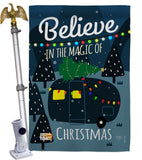 Believe The Magic Trailer - Christmas Winter Vertical Impressions Decorative Flags HG114152 Made In USA