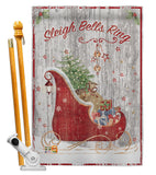 Sleigh Bells Ring - Christmas Winter Vertical Impressions Decorative Flags HG114189 Made In USA