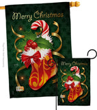 Xmas Stocking - Christmas Winter Vertical Impressions Decorative Flags HG114086 Made In USA