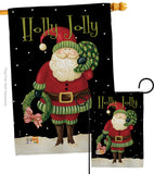 Holly Jolly Santa - Christmas Winter Vertical Impressions Decorative Flags HG114139 Made In USA