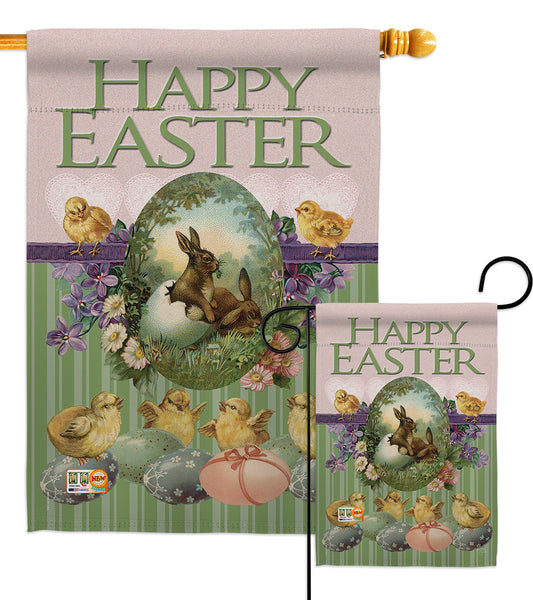 Bunny with Chicks - Easter Spring Vertical Impressions Decorative Flags HG103053 Made In USA