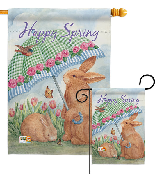 Bunnies With Umbrella - Easter Spring Vertical Impressions Decorative Flags HG103060 Made In USA