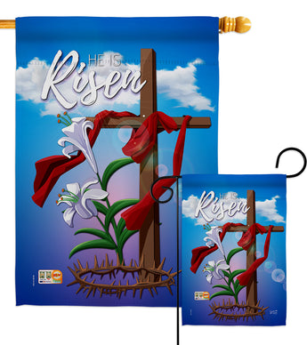 Easter Cross - Easter Spring Vertical Impressions Decorative Flags HG137157 Made In USA